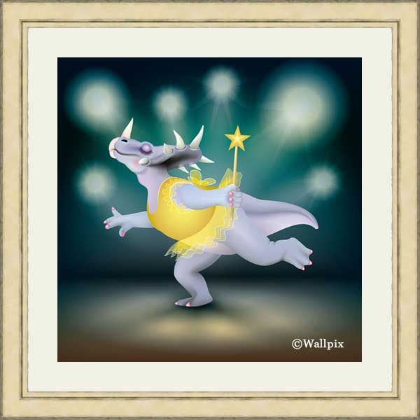 Gold-framed original art print of Dancing Fairy Dinosaur Gold on Aqua by Jeff West