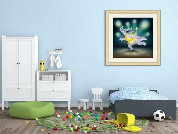 Gold-framed original art print of Dancing Fairy Dinosaur Gold on Aqua by Jeff West in a child's room