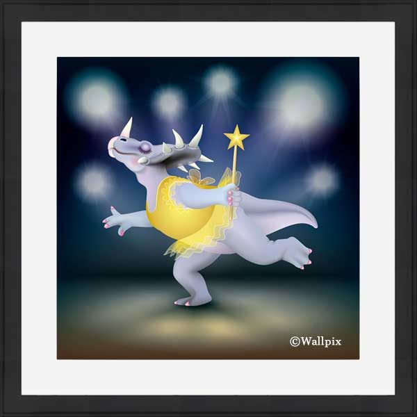 Black-framed original art print of Dancing Fairy Dinosaur Gold on Blue by Jeff West