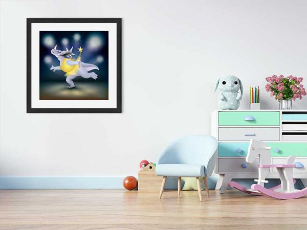 Black-framed original art print of Dancing Fairy Dinosaur Gold on Blue by Jeff West in a child's room