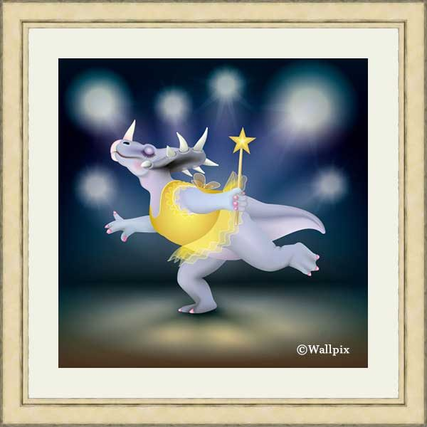 Gold-framed original art print of Dancing Fairy Dinosaur Gold on Blue by Jeff West