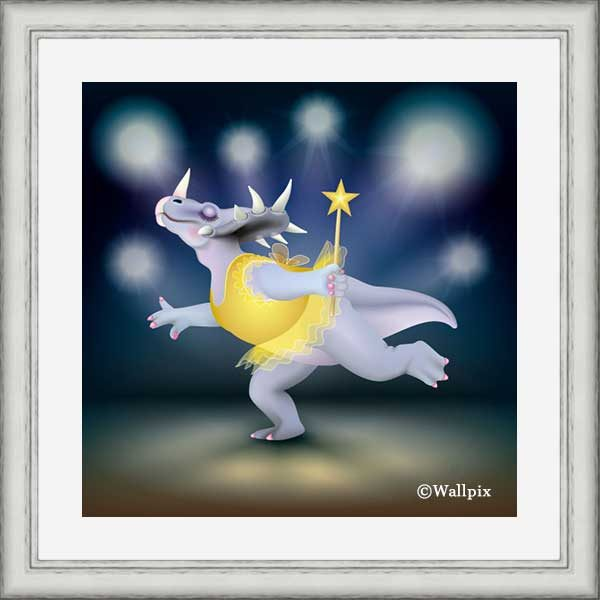 Silver-framed original art print of Dancing Fairy Dinosaur Gold on Blue by Jeff West