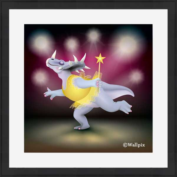 Black-framed original art print of Dancing Fairy Dinosaur Gold on Ruby by Jeff West