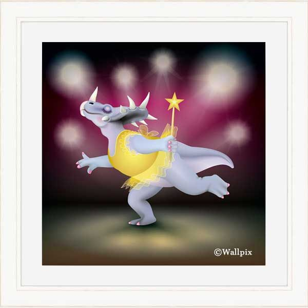 Cream-framed original art print of Dancing Fairy Dinosaur Gold on Ruby by Jeff West