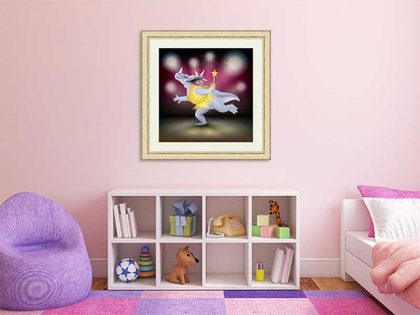 Gold-framed original art print of Dancing Fairy Dinosaur Gold on Ruby by Jeff West in a child's room