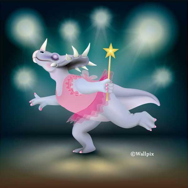 Unframed original art print of Dancing Fairy Dinosaur Pink on Aqua by Jeff West