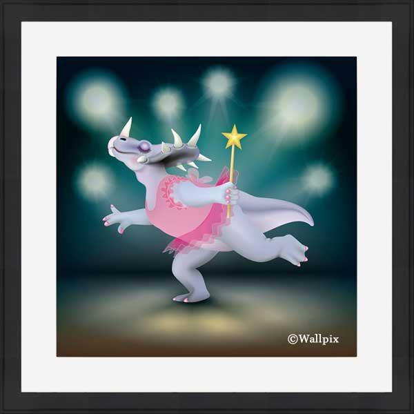 Black-framed original art print of Dancing Fairy Dinosaur Pink on Aqua by Jeff West