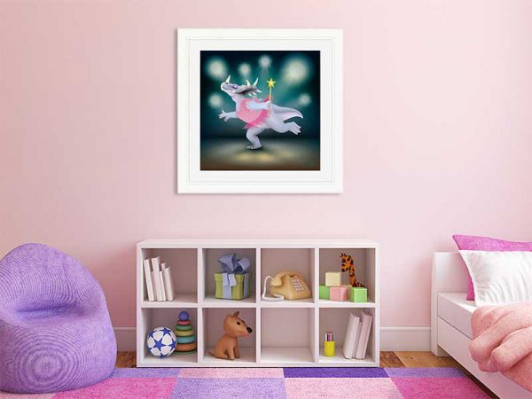 Cream-framed original art print of Dancing Fairy Dinosaur Pink on Aqua by Jeff West in a child's room