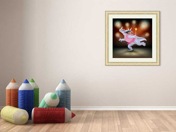 Gold-framed original art print of Dancing Fairy Dinosaur Pink on Fire by Jeff West in a child's room