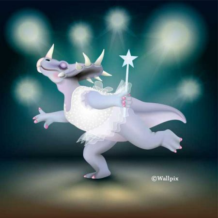 Unframed original art print of Dancing Fairy Dinosaur White Glitter on Aqua by Jeff West