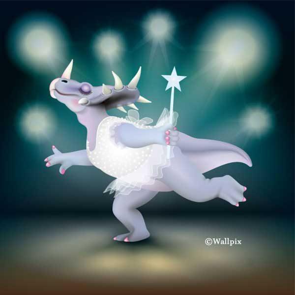 Unframed original art print of Dancing Fairy Dinosaur White Glitter on Aqua by Jeff West
