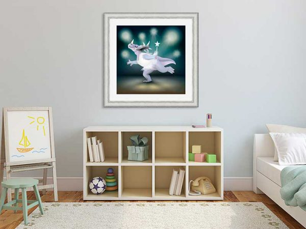 Silver-framed original art print of Dancing Fairy Dinosaur White Glitter on Aqua by Jeff West in a child's room