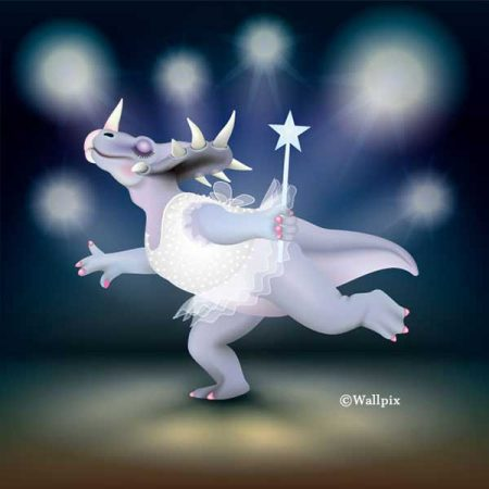 Unframed original art print of Dancing Fairy Dinosaur White Glitter on Blue by Jeff West
