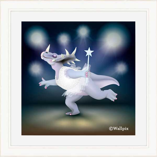 Cream-framed original art print of Dancing Fairy Dinosaur White Glitter on Blue by Jeff West