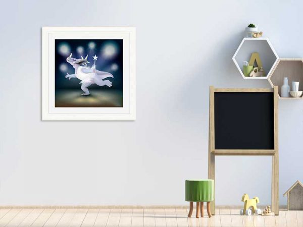 Cream-framed original art print of Dancing Fairy Dinosaur White Glitter on Blue by Jeff West in a child's room