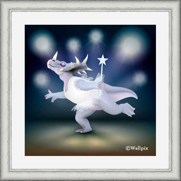 Silver-framed original art print of Dancing Fairy Dinosaur White Glitter on Blue by Jeff West