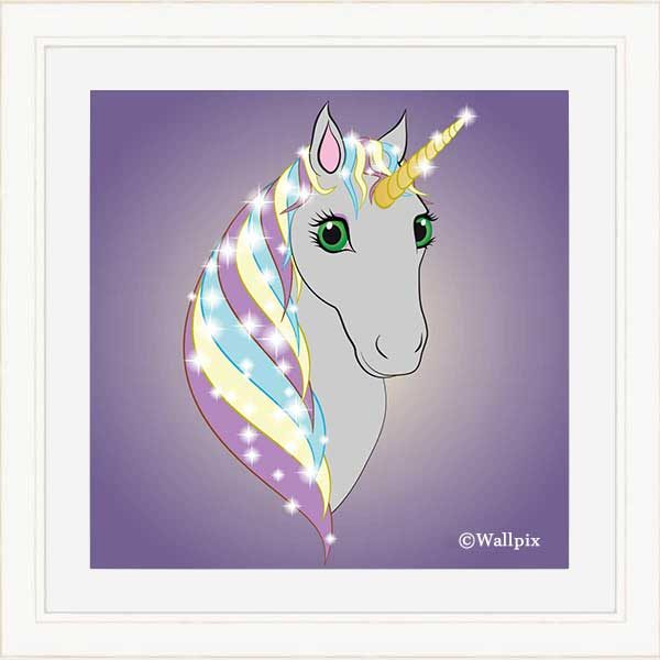 Square cream-framed original art print Regal Unicorn Grey on Lilac by Jeff West