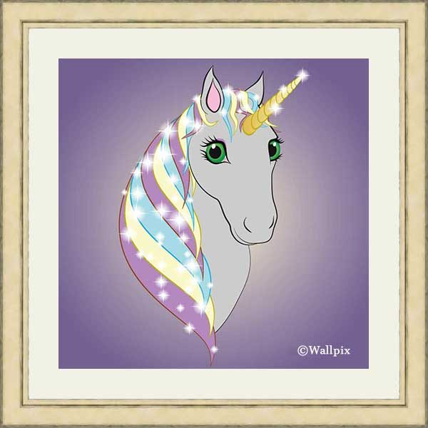 Square gold-framed original art print Regal Unicorn Grey on Lilac by Jeff West