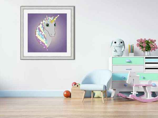 Square silver-framed original art print Regal Unicorn Grey on Lilac by Jeff West in a child's room