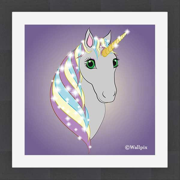 Square slate-framed original art print Regal Unicorn Grey on Lilac by Jeff West