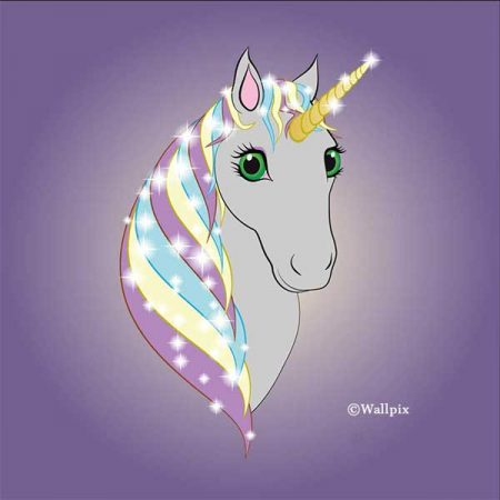 Square unframed original art print Regal Unicorn Grey on Lilac by Jeff West