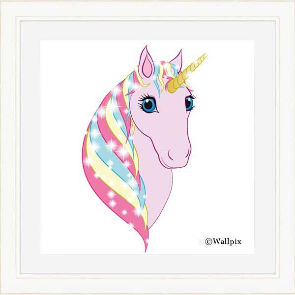 Square cream-framed original art print Regal Unicorn Pink on White by Jeff West