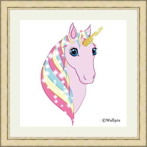 Square gold-framed original art print Regal Unicorn Pink on White by Jeff West