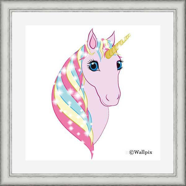 Square silver-framed original art print Regal Unicorn Pink on White by Jeff West