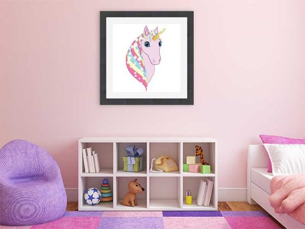 Square black-framed original art print Regal Unicorn Snow White on Pink by Jeff West in a child's room