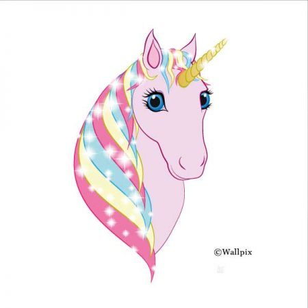 Square unframed original art print Regal Unicorn Pink on White by Jeff West