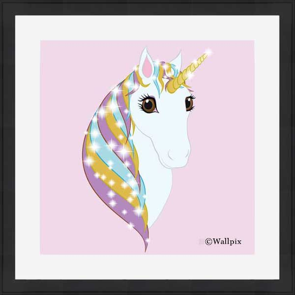 Square black-framed original art print Regal Unicorn Pure White on Candy by Jeff West