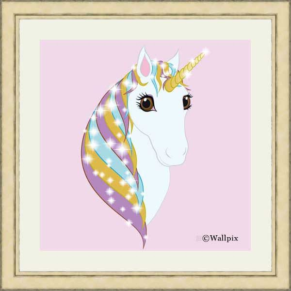 Square Silver frame / white mount original art print Regal Unicorn Pure White on Candy by Jeff West ready to hang