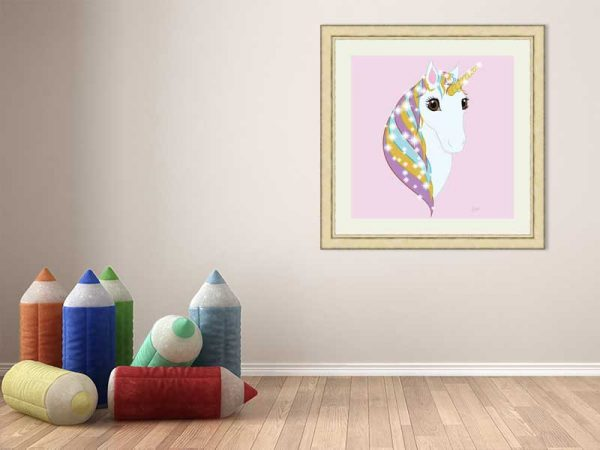 Square gold-framed original art print Regal Unicorn Pure White on Candy by Jeff West in a child's room