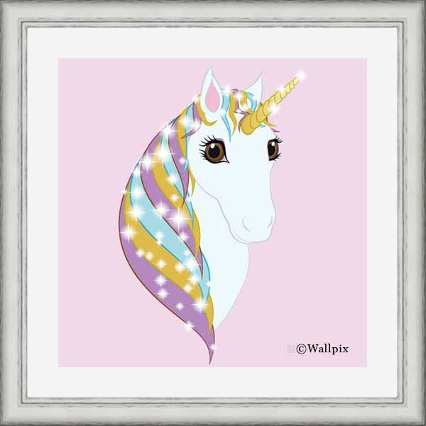 Square Silver-framed original art print Regal Unicorn Pure White on Candy by Jeff West
