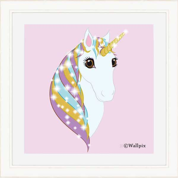 Square Cream-framed original art print Regal Unicorn Pure White on Candy by Jeff West