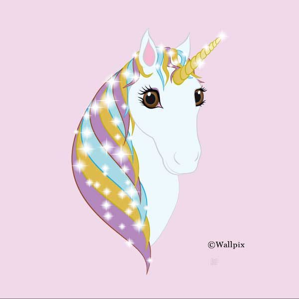 Square unframed original art print Regal Unicorn Pure White on Candy by Jeff West