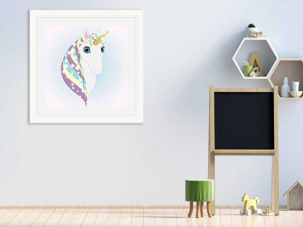Square Cream-framed original art print Regal Unicorn Snow White on Ice by Jeff West in a child's room