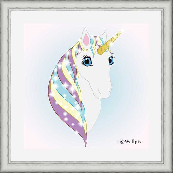 Square Silver-framed original art print Regal Unicorn Snow White on Ice by Jeff West