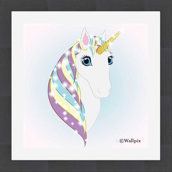 Square Slate-framed original art print Regal Unicorn Snow White on Ice by Jeff West