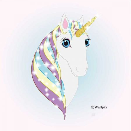 Square unframed original art print Regal Unicorn Snow White on Ice by Jeff West