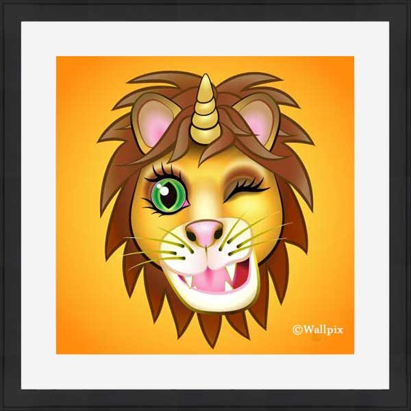 Black-framed original art print URU Unicornlion on orange by Jeff West