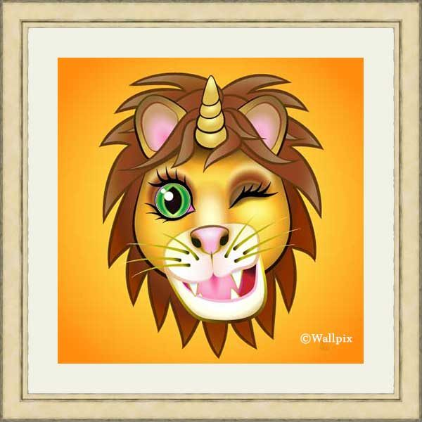 Gold-framed original art print URU Unicornlion on orange by Jeff West