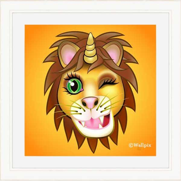 Cream-framed original art print URU Unicornlion on orange by Jeff West