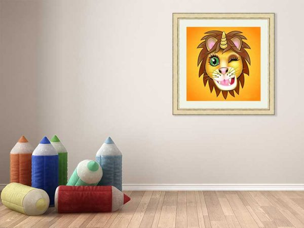 Gold-framed original art print URU Unicornlion on orange by Jeff West hung in a child's room